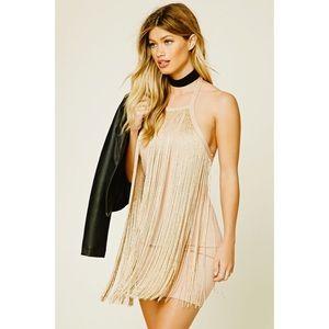 """""""Forever 21"""" Gold & Nude Fringe dress ✨"""